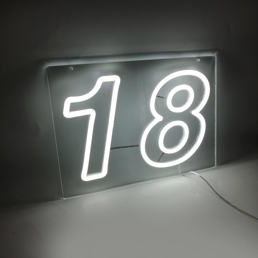 Custom Night Light 18 Number Letter 21 led lights Neon Signs For Home Decorative Lamp Room Wall Lighting enlarge