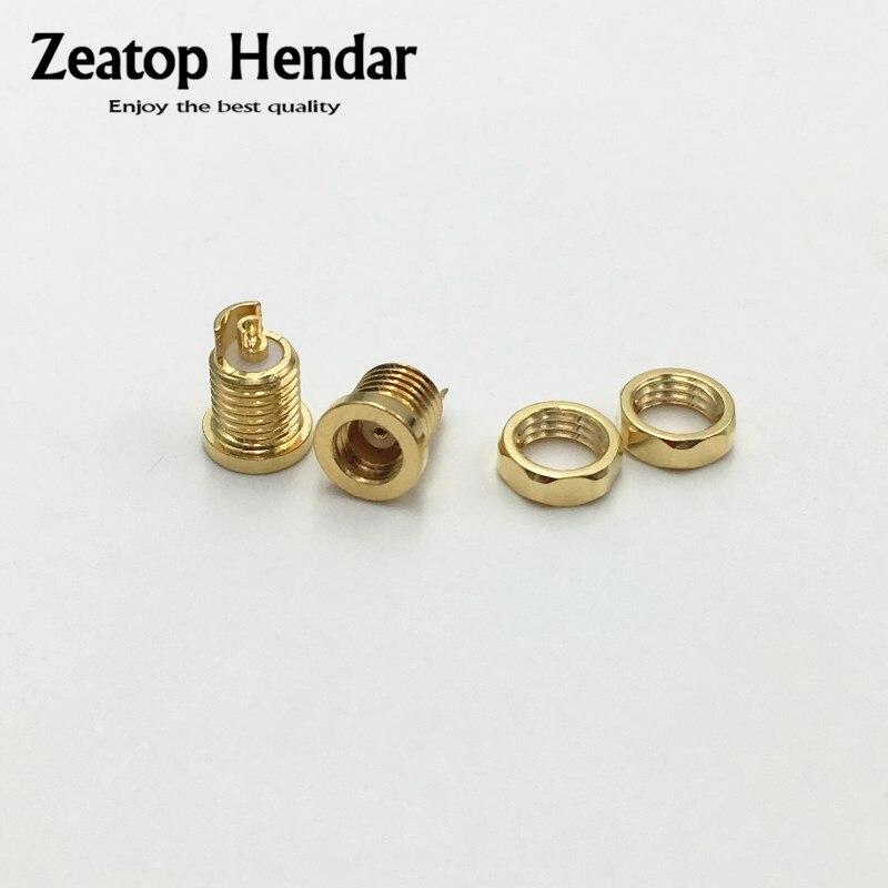 1 Uds. Conector de alambre de cobre de berilio chapado en oro MMCX femenino clavija soldadura PCB Pin de montaje para IE800 adaptador de enchufe de Audio DIY