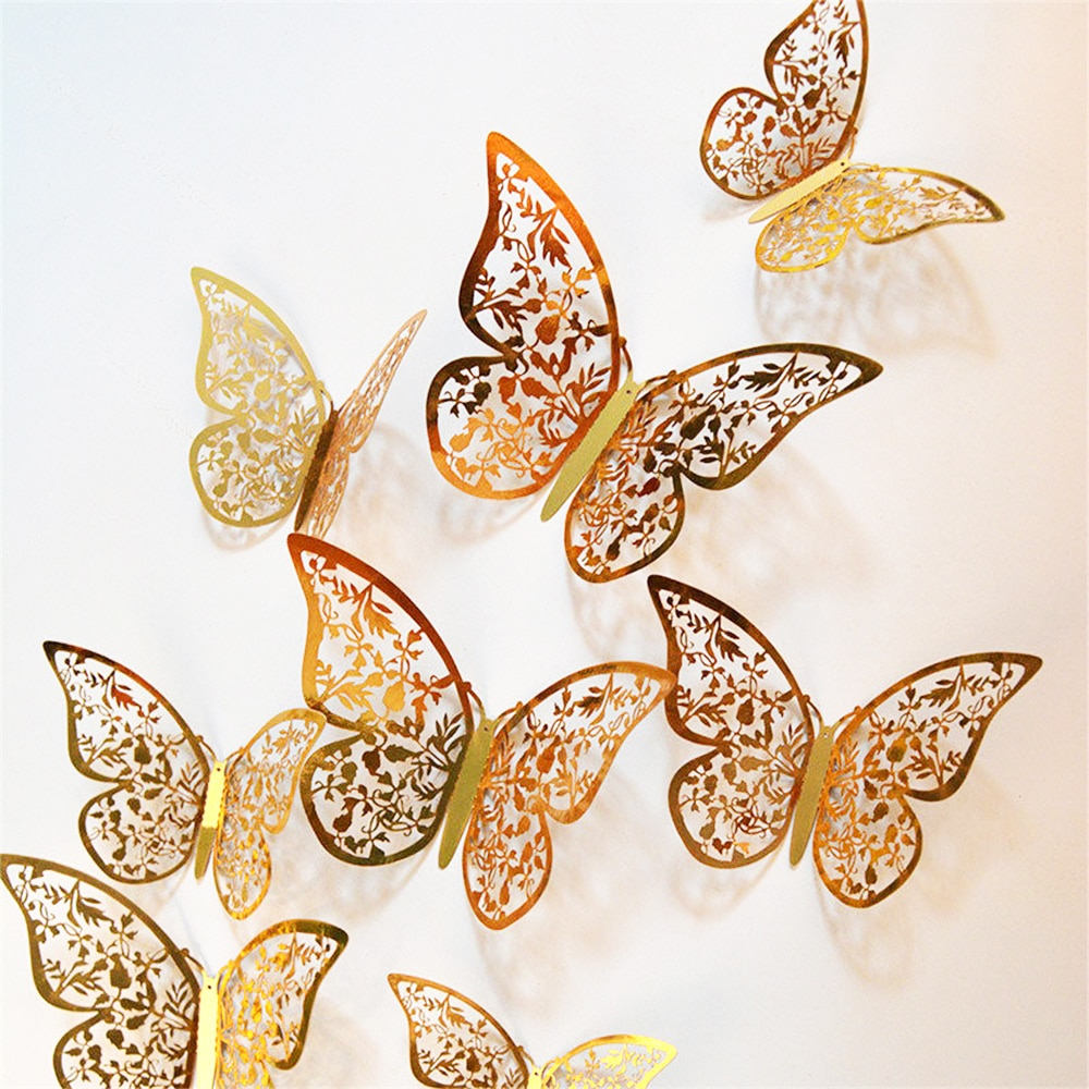 12Pcs 4D Hollow Butterfly Wall Sticker DIY Home Decoration Wall Stickers wedding Party Wedding Decors Butterfly Kids Room Decors