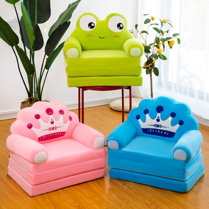 Three-layer Folding Kid Sofa Bed Nap Fashion Cartoon Crown Seat Cute Baby Stool Kindergarten Cushion Lazy Sofa Child Chair