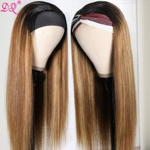 DQ Straight Highlight Headband Wig Synthetic Wig Mixed Brown Ombre Honey Blonde Daily Party Cosplay Lolita Wigs for Women P4/30
