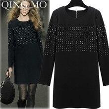 QING MO Fashion Brand Black Tshirt Dress With Rhinestone Women Spring Elegant Dress Full Sleeve Knee Length Dress ZQY1540
