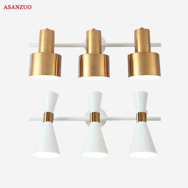 Nordic minimalistischen schlafzimmer spiegel lampe 3 köpfe hintergrund wand lampe bad spiegel schrank make-up tisch beleuchtung