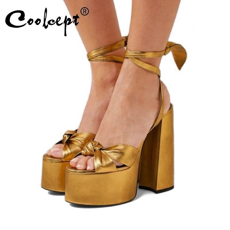 Coolcept, Sandalias de tacón alto, zapatos de plataforma nuevos de marca europea, zapatos de pasarela con correa para el tobillo de verano para mujer, talla 34-43