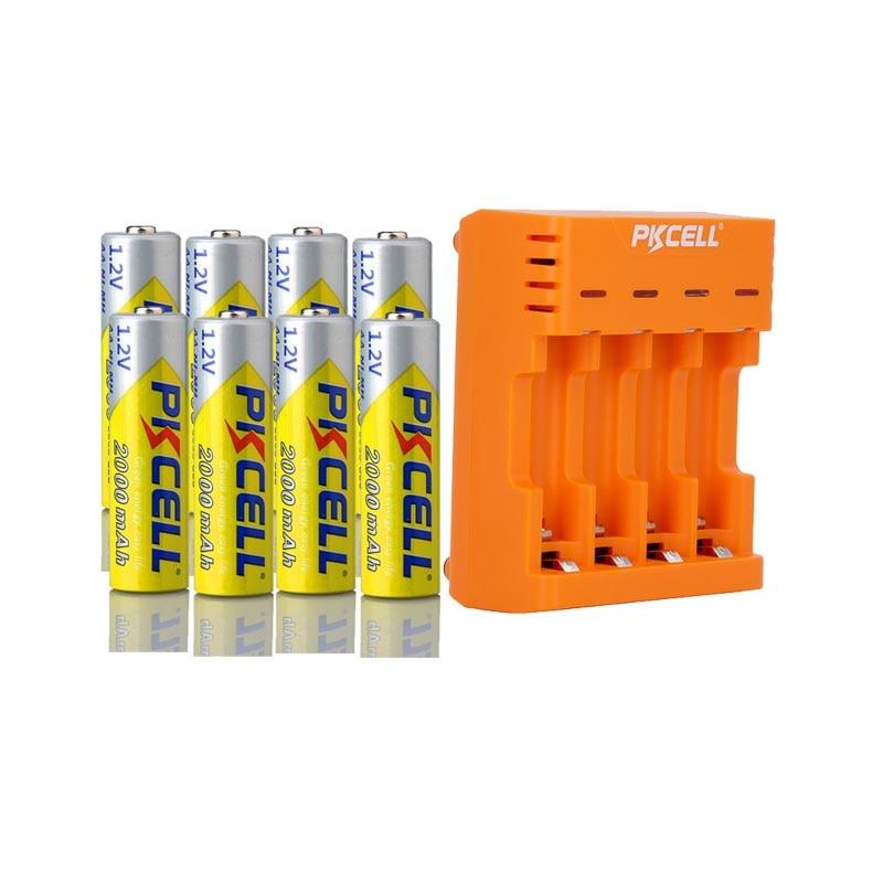 8 unids/lote PKCELL AA baterías NI-MH 2A 2000mAh 1,2 V AA batería recargable con AA/AAA NIMH cargador de batería