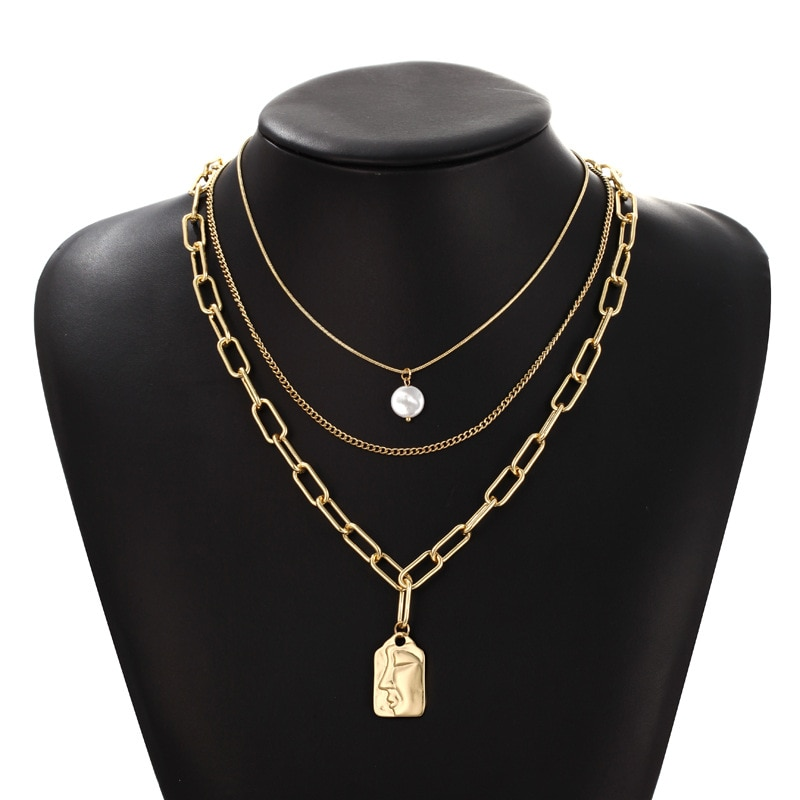 European and American fashion three-layer pearl necklace female multi-layered wear head long clavicle chain