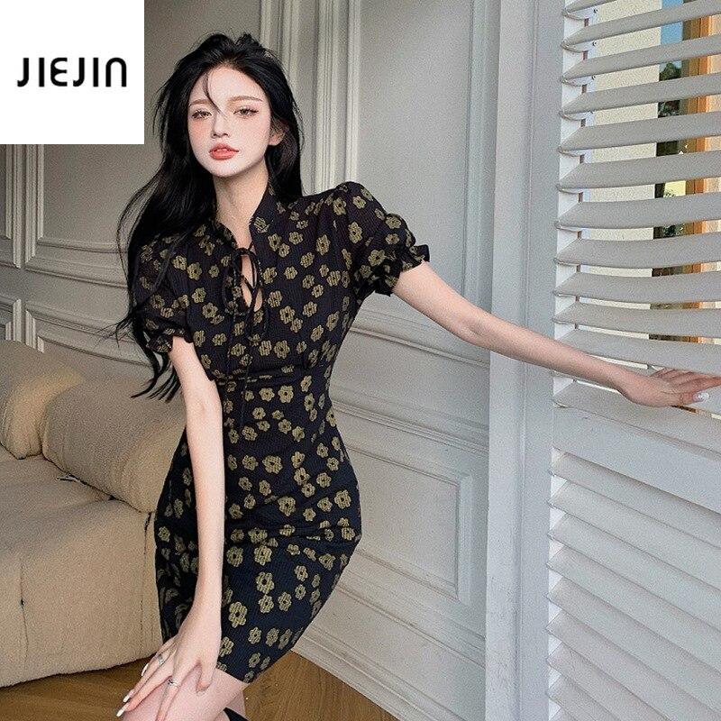 Black Bandage Dress Chinese Improved Cheongsam Women Sexy Vintage Cheongsam Dress for Women Black Ca
