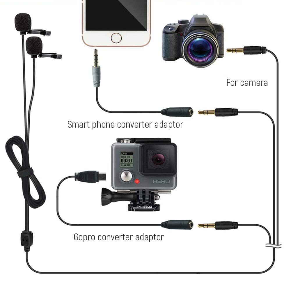 Dual microphone Lavalier microphone small radio microphone upgraded noise reduction live microphone video recording microphone enlarge