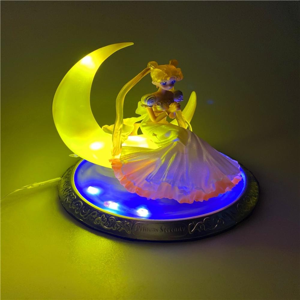 Sailor Moon Tsukino Usagi Cristal Led Ação PVC Figura Anime Sailor Moon Toy Model Collection 150 milímetros