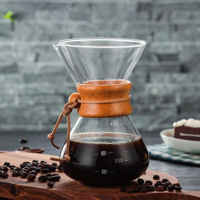 400 ml resistente al calor Manual de café práctica máquina de café de papel reutilizable de acero inoxidable filtro de vidrio taza de café