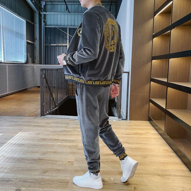 Men's sports suit autumn and winter korean fashion fashion brand zipper jacket trousers casual men's velvet two-piece set