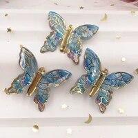 Papillons colores brillants a dos plat  50 pieces  strass  bricolage  1 trou  perle  decoration de mariage  cadeau de noel  artisanat maison  W919