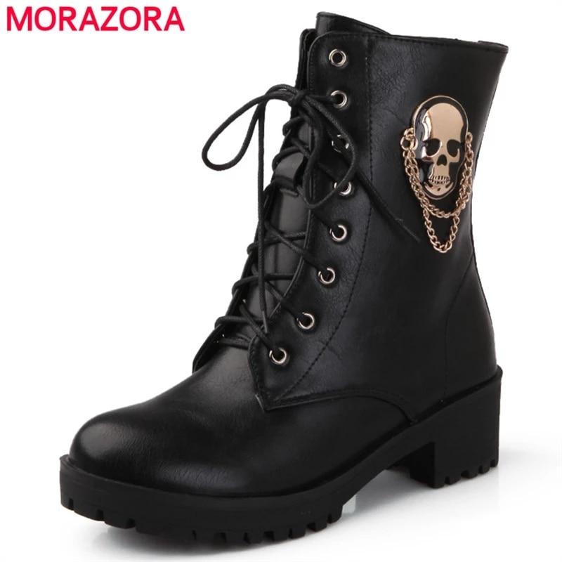 MORAZORA-حذاء نسائي برباط علوي ، جمجمة الشارع ، منصة ، أحذية عصرية ، خريف وشتاء ، 2021