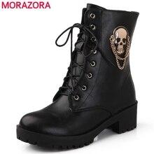 MORAZORA 2020 offre spéciale bottines pour femmes crâne rue à lacets plate-forme femmes bottes mode dames automne hiver bottes chaussure