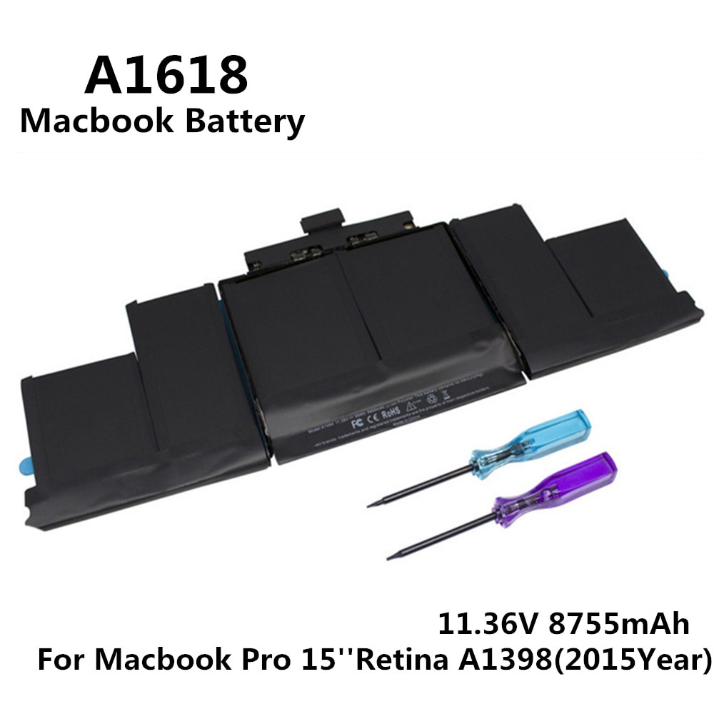 100% Original 11.36V 8755mAh Notebook Laptop A1618 Battery FOR Apple Macbook Pro 15'' Retina A1398 2015 Year MJLQ2LL/A MJLT2LL/A недорого