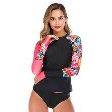 2020 Nieuwe Sexy Print Vrouwen Rashguard Top Lange Mouw Badmode Gedrukt Badpak Shirts Uv-Bescherming Rash Guard Beach Wear