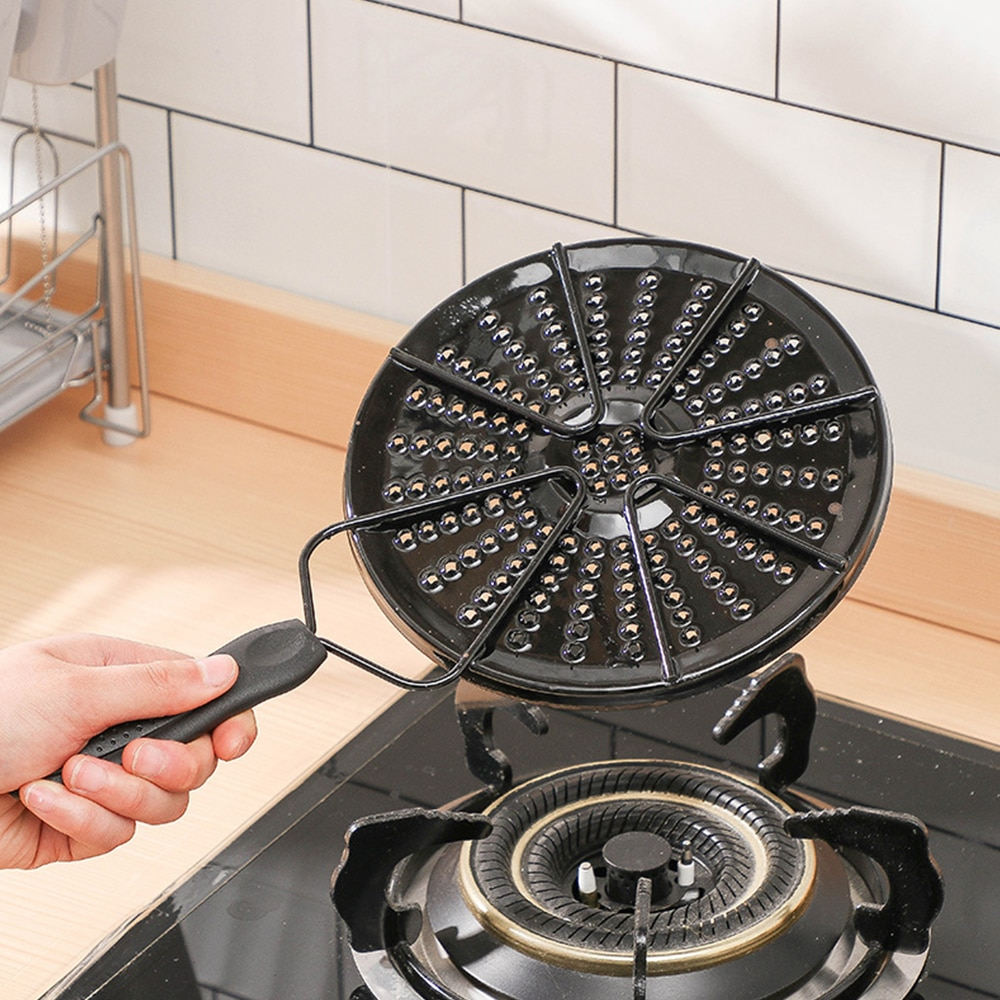 Difusor de calor con tapa esmaltada, distribuidor de placa encimera de Gas, reductor de calor, protector de llama, placa de fuego simple, llama para estufas de fuego abierto