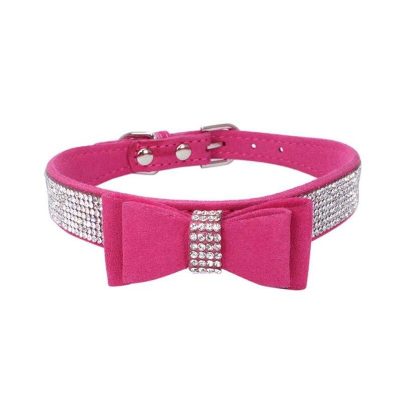 Collar para perro de cuero para el hogar, lazo acolchado ostentoso, Diamante de imitación suave, Collar para cachorro, gato, mascota para mascotas de tamaño pequeño y mediano