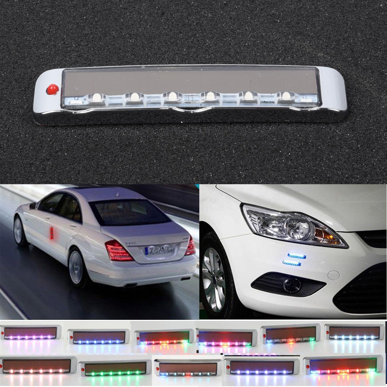 Intermitente inalámbrico LED estroboscópico potencia 100*18*7,8mm Auto Universal luz colorida Flash Solar señal de emergencia