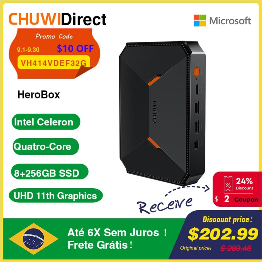 CHUWI HeroBox Intel N4100 Quad Core Mini PC 8GB RAM 256GB SSD Windows 10 Desktop Computer with VESA Bracket HD VGA 2.4G/5G Wifi