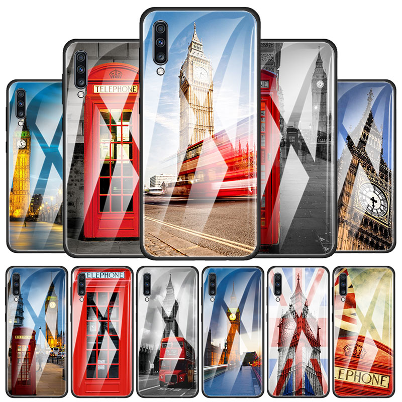 Flag United Kingdom London Big Ben Tempered Glass Phone Case For Samsung Galaxy A10 A20 A30 A40 A50 A70 A51 A71 A91 M31 Cover Ca