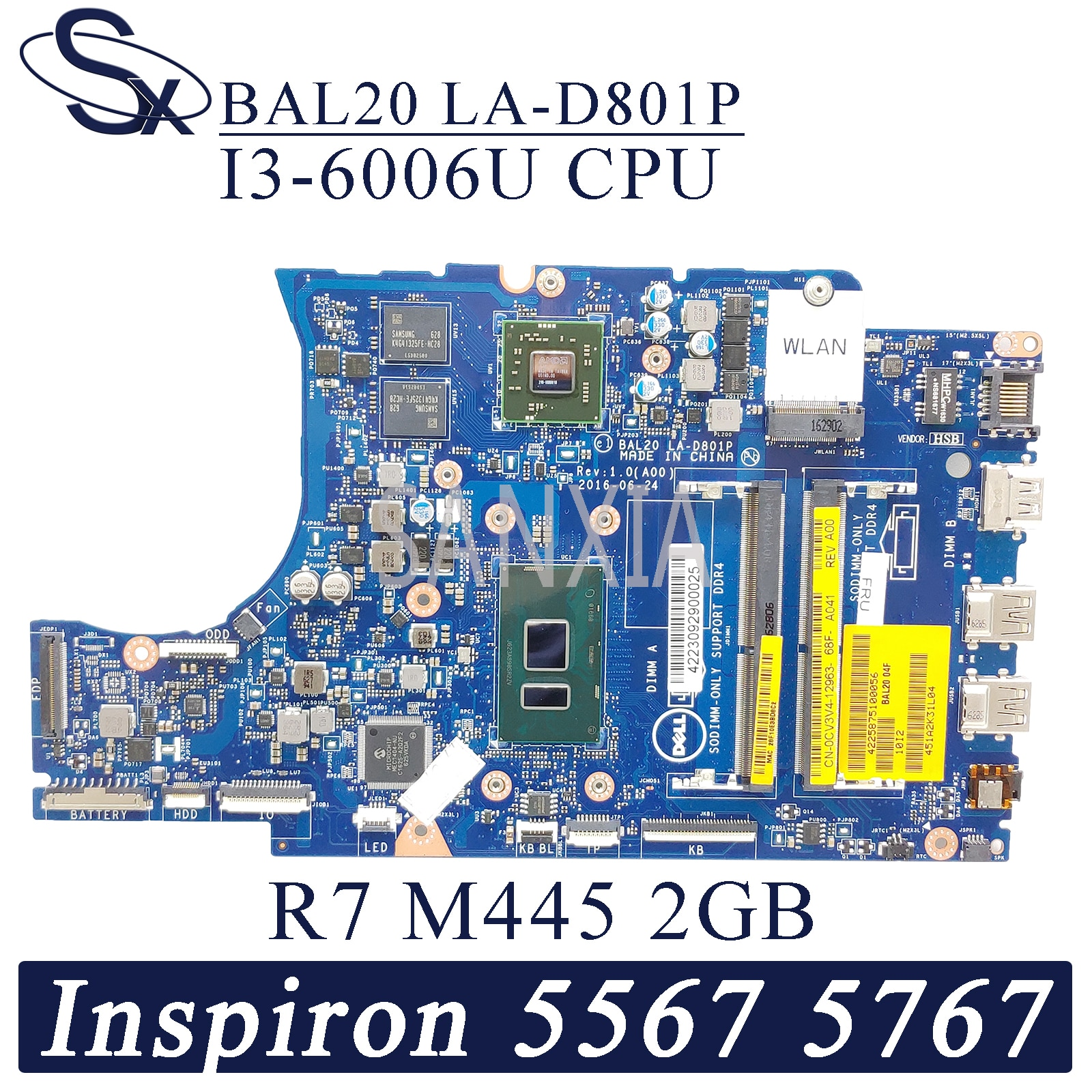 KEFU LA-D801P carte mère dordinateur portable pour Dell Inspiron 15-5567 17-5767 carte mère dorigine I3-6006U R7-M445