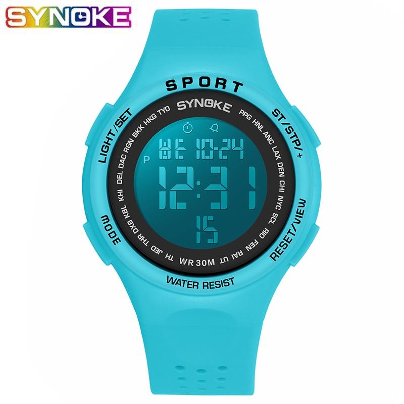 SYNOKE Blue Sports Digital Watch For Boys Girls Student LED Kids 30M Waterproof Alarm Stop Watch Gift Luminous Children Clock