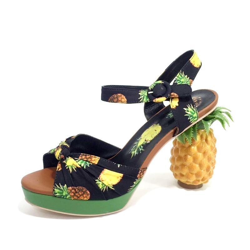 حذاء نسائي بكعب على شكل أناناس ، صندل جلدي مفتوح من الأمام مع التاريخ ، حذاء بلاتفورم ، وردي ، عصري