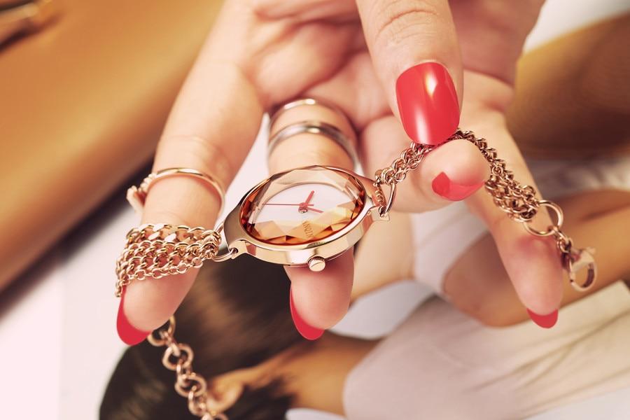 New Women Watches Bracelet Watch Sapphire Ladies Gold Wristwatches for Woman Stainless Steel Female Clock Waterproof reloj mujer enlarge