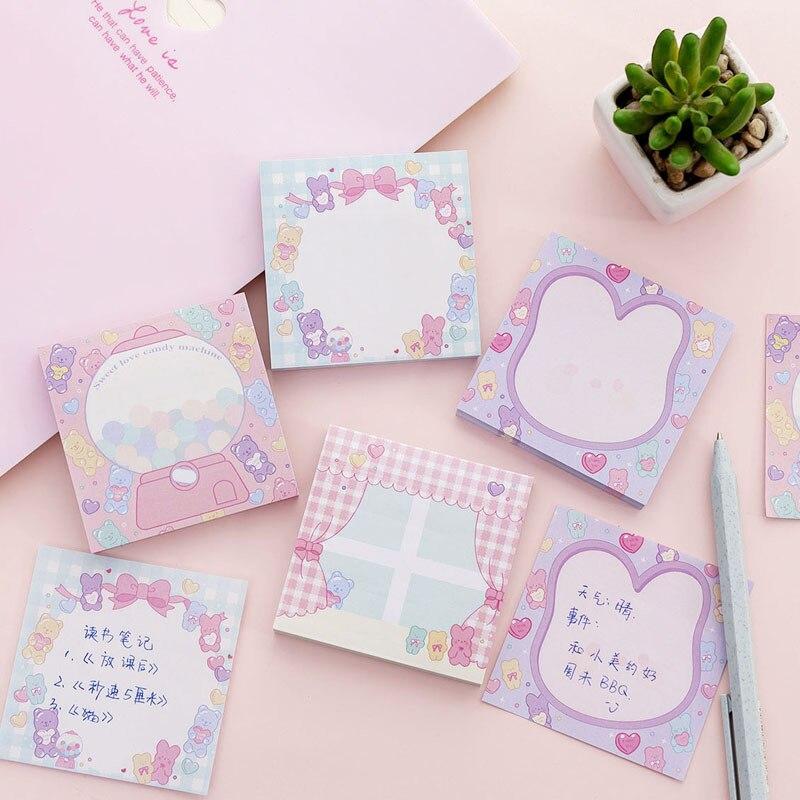4 Uds. Lindas notas adhesivas conejo precioso oso caramelo Color adhesivo Bloc de notas pegatinas planificador registro nota libro Oficina escuela F912