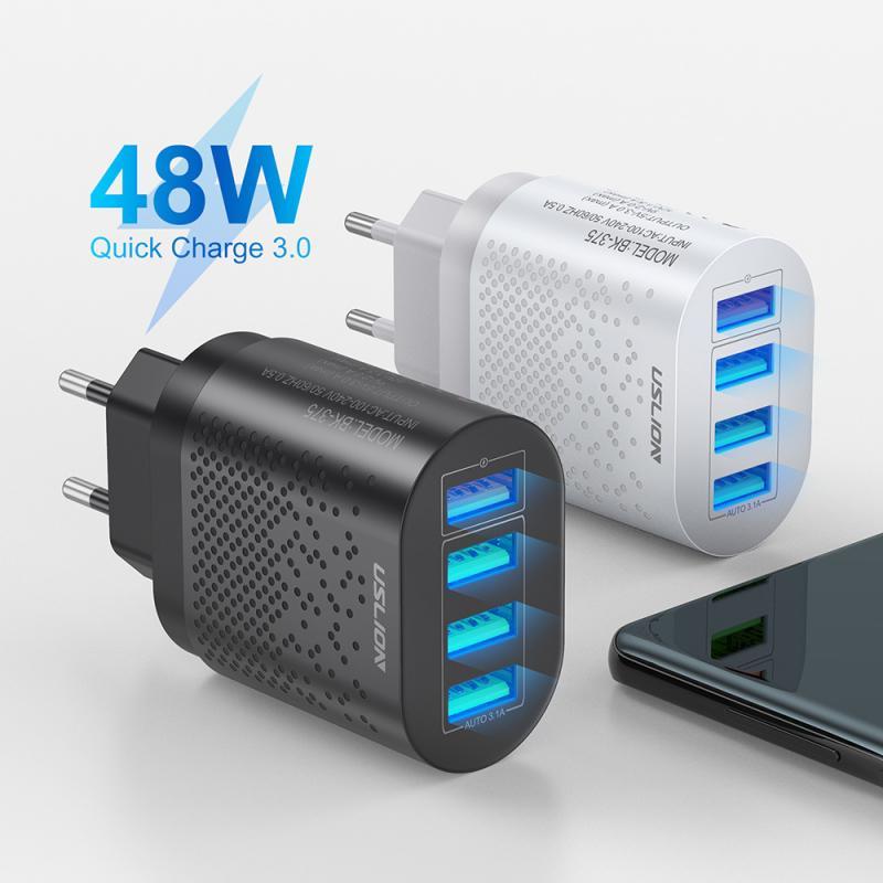 Adaptador de carga rápida 3,0, Cargador USB con enchufe para UE/EE. UU., cargador de viaje portátil, 4 puertos, cargadores de pared rápidos de 48W para teléfono móvil Universal
