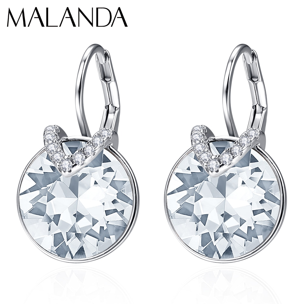 Crystals From Swarovski Round Bella V Stud Earrings For Women New Fashion Female Earrings Wedding Party Jewelry Mom Girls Gift
