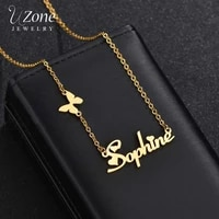 uzone new fashion custom stainless steel name necklace with butterfly personalized letter gold choker necklace for women gift