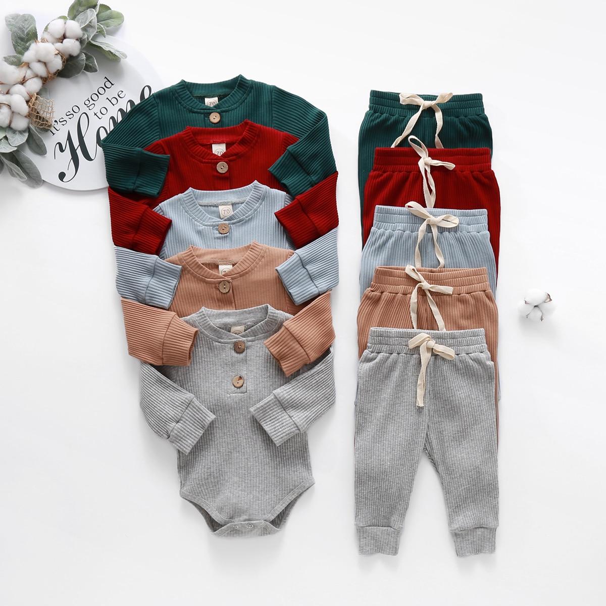 Infant Neugeborenen Baby Mädchen Jungen 2PCS Outfits 2020 Frühling Herbst Rippen Solide Langarm Bodys + Elastische Hosen Kleidung sets