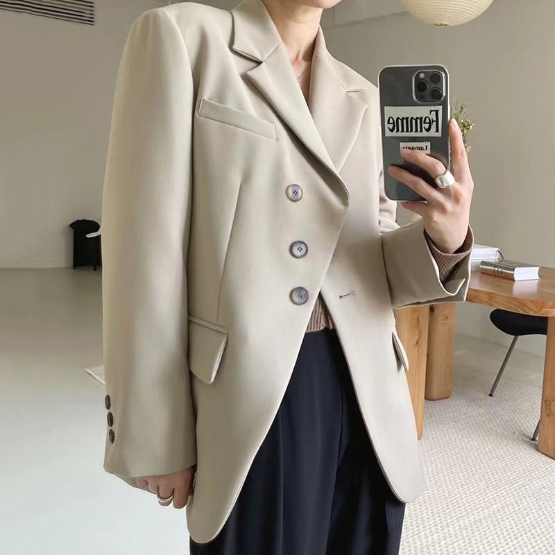 Overcoat Women Korean Chic Autumn Temperament Lapel Chic Beveled Three Design Loose Cardigan Long Sl