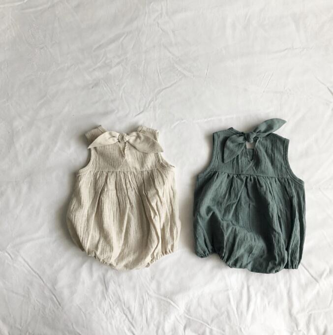 Coreano de primavera y verano bebé sin mangas ropa de bebé Mono para bebé o niña ropa