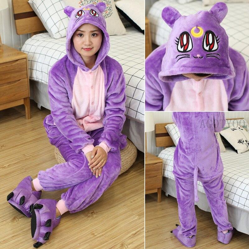 Monos de unicornio de invierno con bonitos gatos morados, monos de mujer de manga larga para dormir, disfraz de Cosplay de punto de Anime, pijamas franela adultos