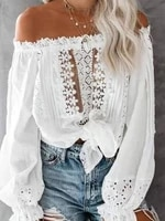 spring summer casaul women long sleeve white tops hollow out off shoulder plain lace contrast blouse female