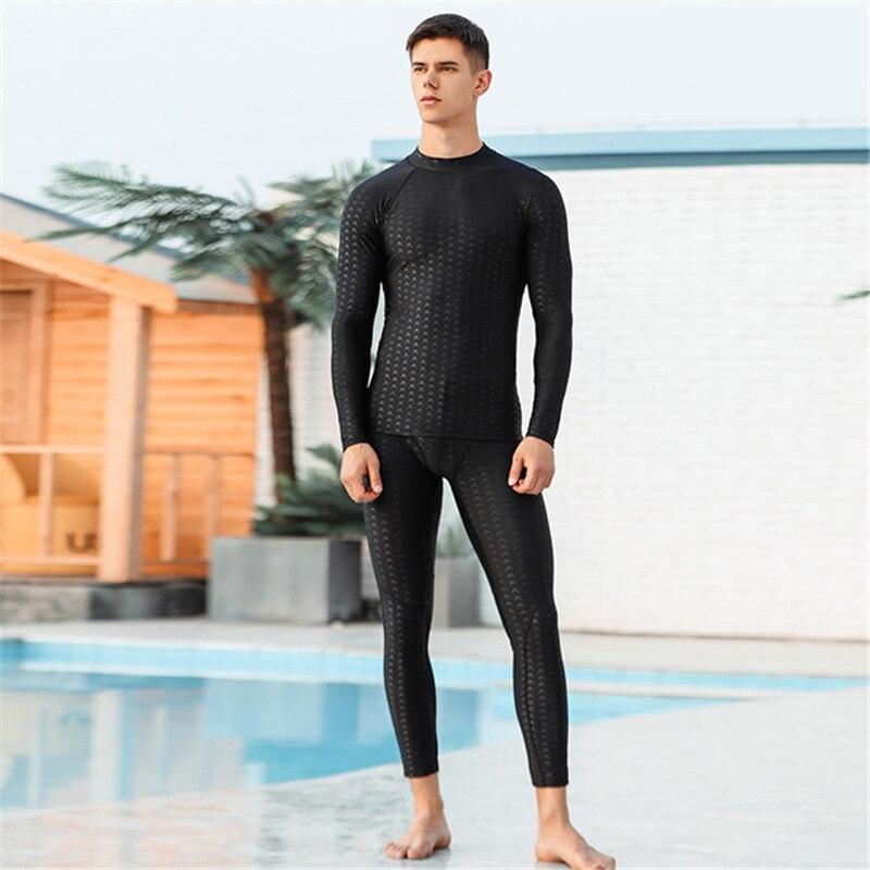 Homem fatos de natação masculino praia surf mergulho tubarão-pele como material manga longa topos joelho acima das calças alta elástica secagem rápida