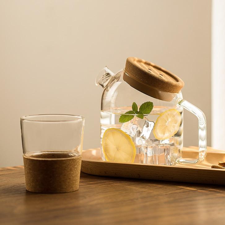 Jarra de agua de vidrio para té, Jarra de almacenamiento de zumo...