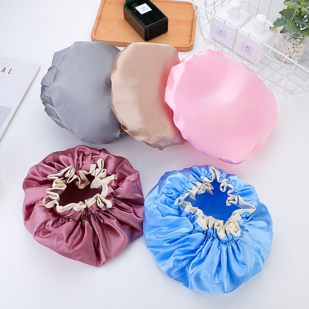 Thickened Adult Double-layer Waterproof Bath Hat Double Layer Shower Hair Cover Women Supplies Showe