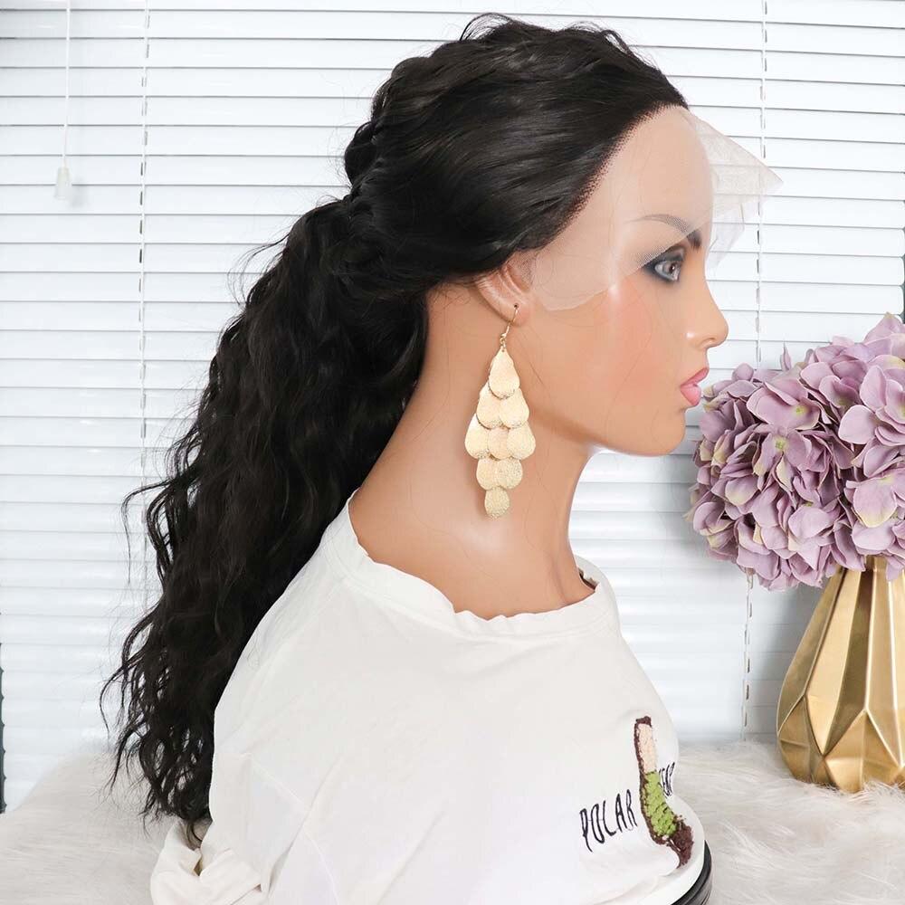 NYFREYA شعر مستعار اصطناعي على شكل T موجة المياه الطبيعية السوداء الجزء الأوسط ارتفاع درجة الحرارة حفلة الشعر اليومي للنساء