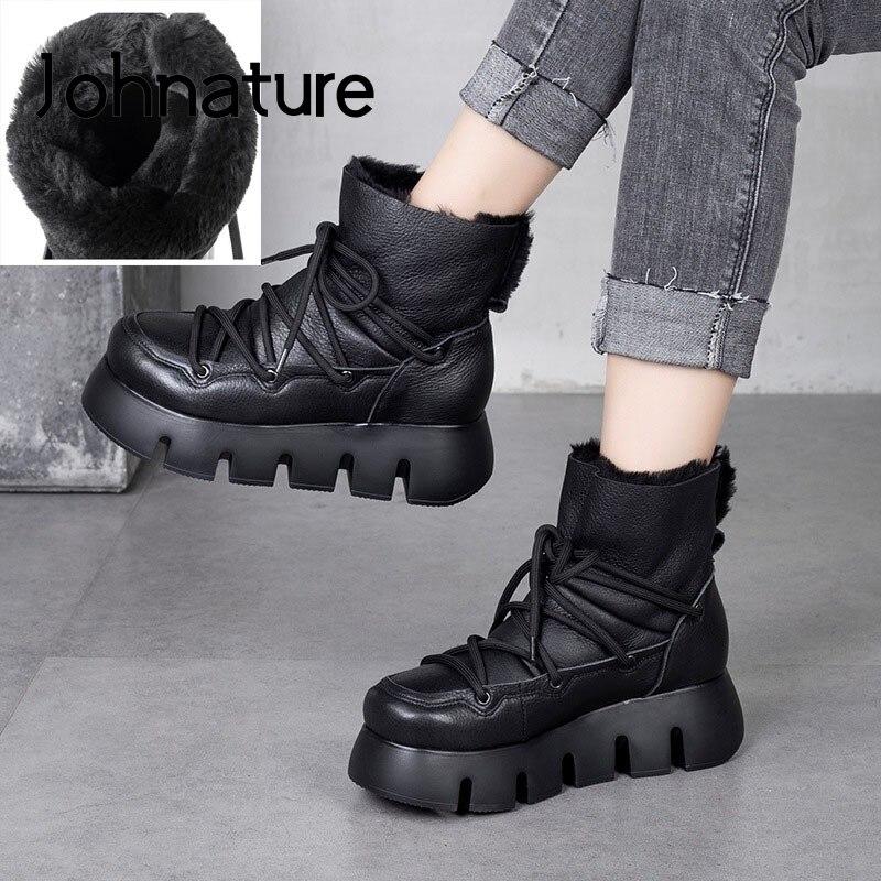 Женские ботинки из натуральной шерсти Johnature, теплые зимние ботинки из натуральной кожи на шнуровке, ботинки на платформе по голень ручной ра...
