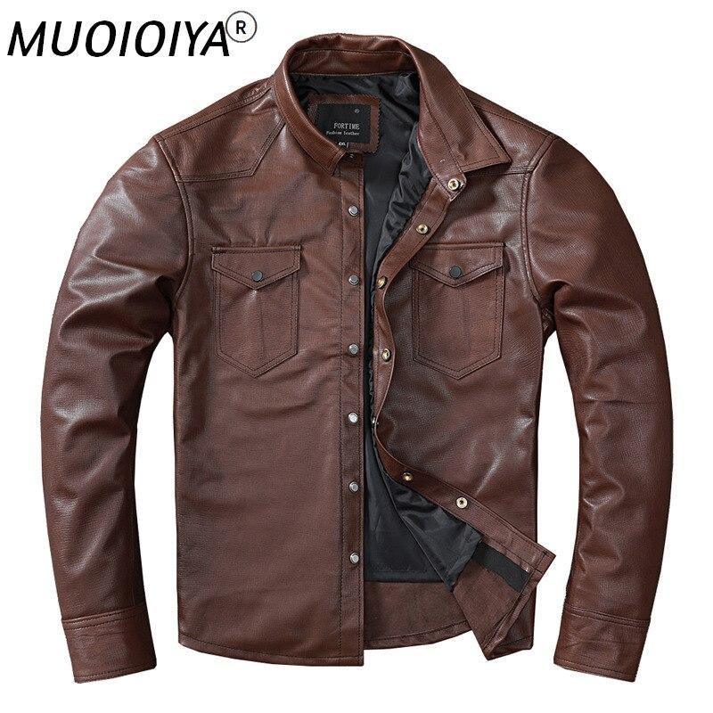 الربيع والخريف الرجال جلد الغنم سترة ضئيلة تناسب قميص قصير لون الشوكولاته سترة جلدية للذكور