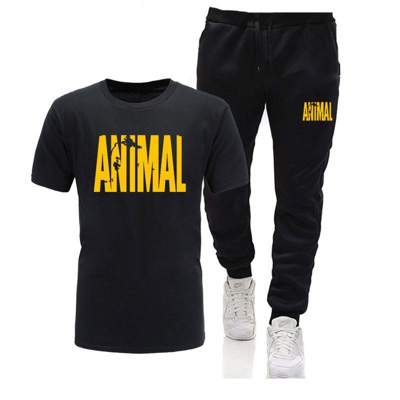 Camiseta de chándal de ANIMAL para hombre + Pantalones de jogger de dos piezas de algodón para culturismo cómoda Camiseta de manga corta para hombre Casual fitness tops