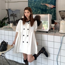 Korean Style Loose Contrast Color Puff Sleeves Pleated Summer Plus Size Office Casual Dress Elegant