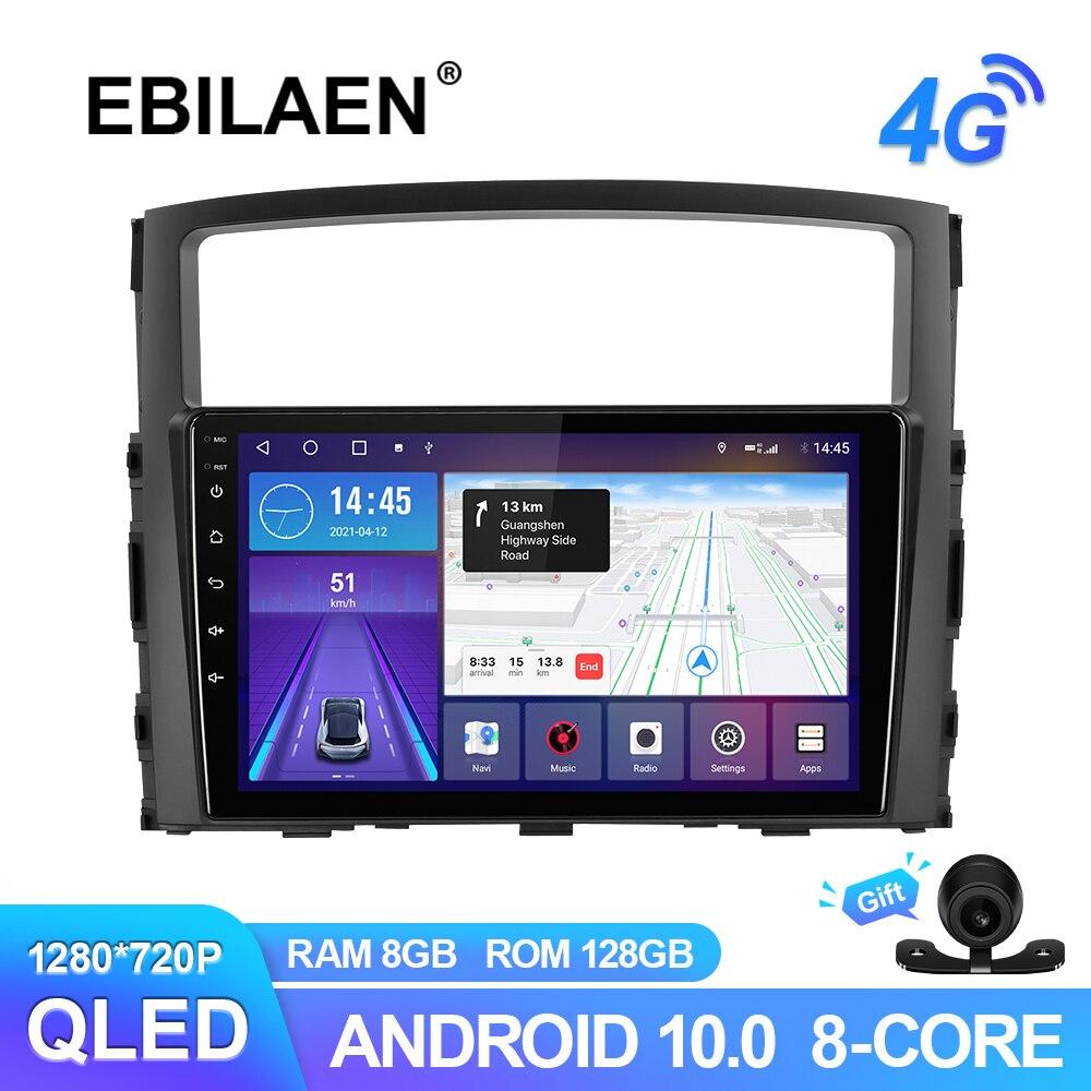 راديو سيارة من EBILAEN متعدد الوسائط لسيارة Mitsubishi Pajero 4 V80 V90 2006-2014 نظام تشغيل أندرويد 10.0 نظام ملاحة جي بي إس كاميرا كاربلاي QLED لاسلكية