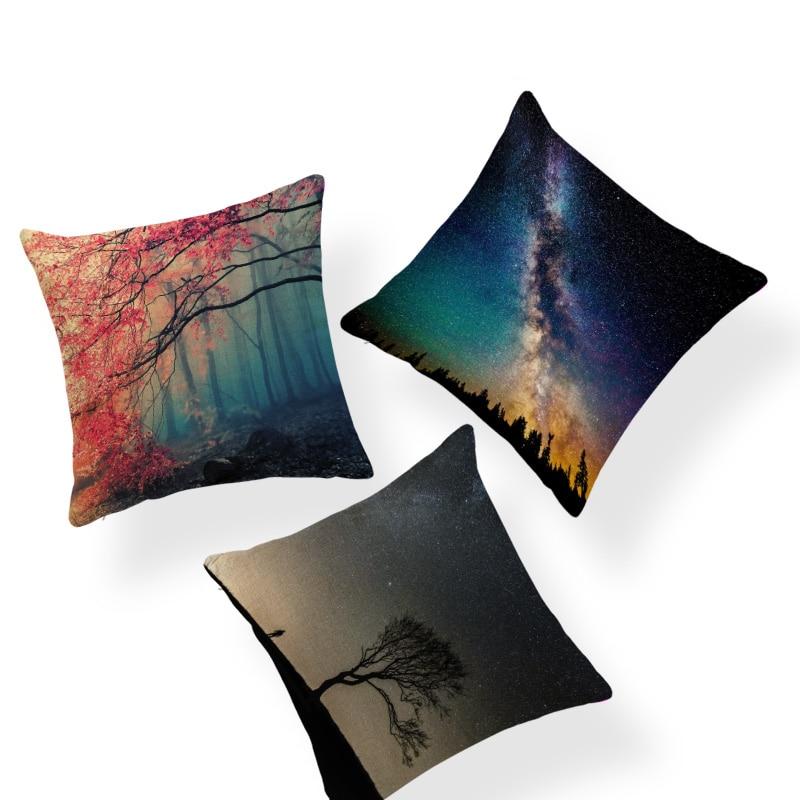 Glamour Dream funda de almohada bosque cielo estrellado agua cuadrado cojín decoración dormitorio sofá de poliéster de lino funda de cojín grande