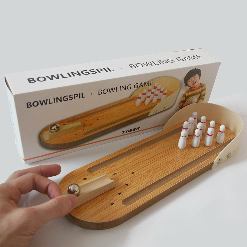 Wooden Mini Desktop Bowling Game Toy Set Fun Indoor Parent-Child Interactive Table Game Bowling Developmental Toy Y035 large mahjong portable wooden boxes set table game mah jong travelling board game indoor antique leather box english manual
