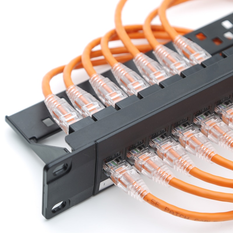 RJ45 CAT 6 adaptador de red Ethernet LAN soporte de montaje de Cable 24 puertos/Panel de parche 1U para montaje en Rack de 19 pulgadas